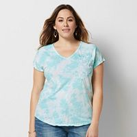 Plus Size SONOMA Goods for Life™ Embroidered Tie-Dye Tee