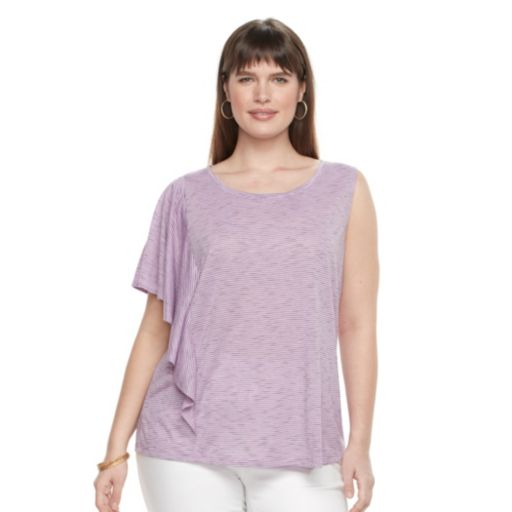 Plus Size Apt. 9® Striped One-Shoulder Top