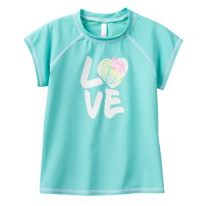 "Girls 4-16 SO® ""LOVE"" Turquoise Short Sleeve Mockneck Rashguard"