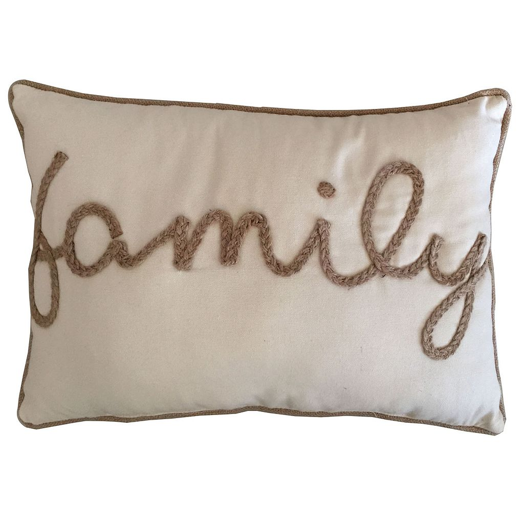 ''Family'' Rope Oblong Throw Pillow