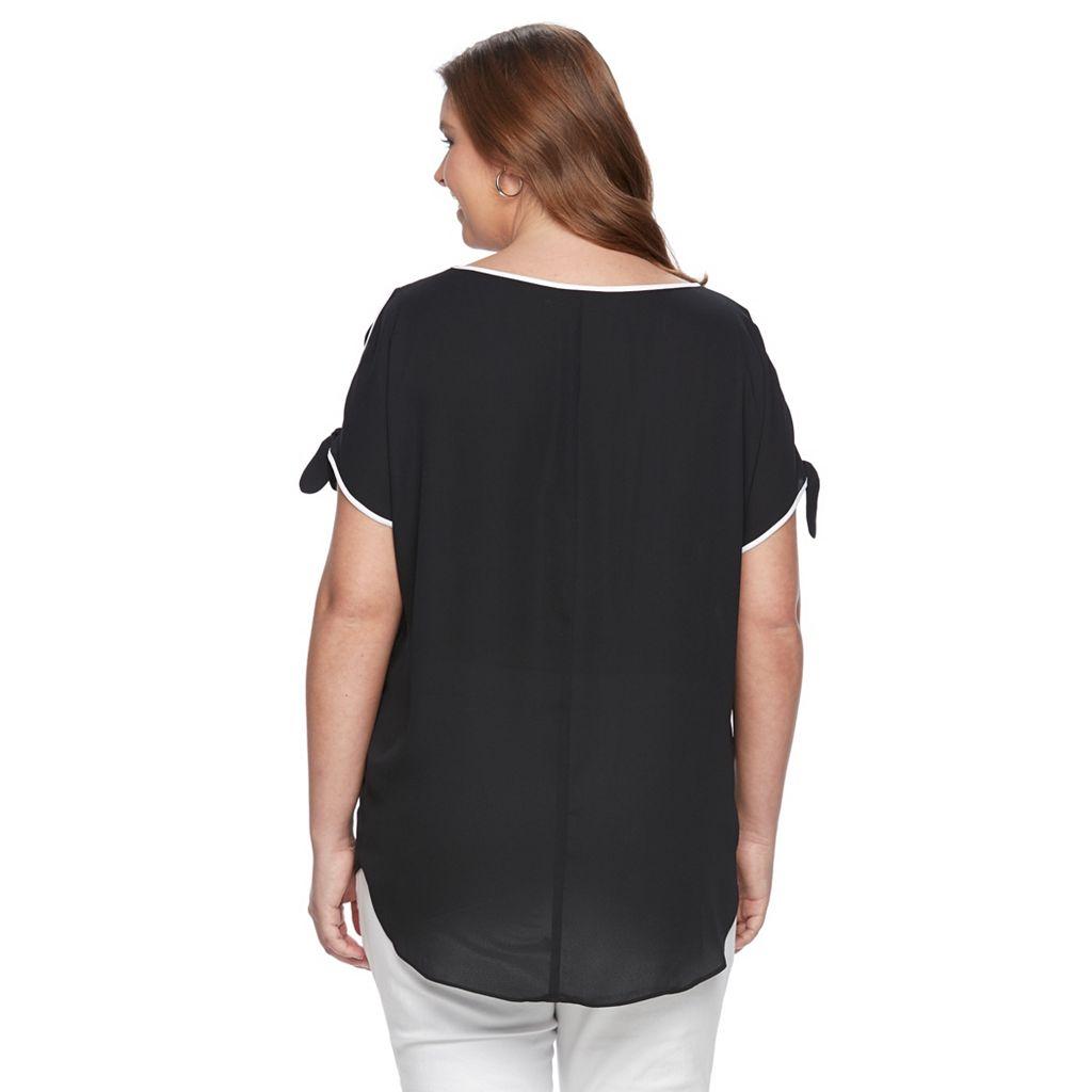 Plus Size Apt. 9® Cold-Shoulder High-Low Top