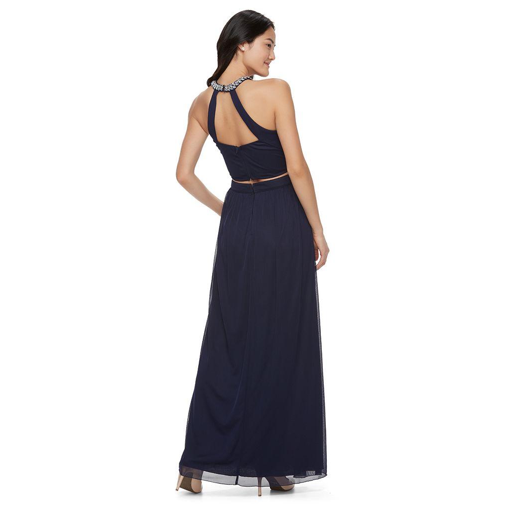 Juniors' Speechless Embellished Halter 2-Piece Formal Dress