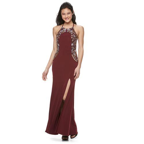 Juniors' Speechless Embellished Full-Length Dress