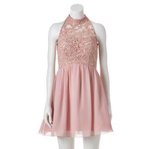 Juniors' Speechless Lace Illusion Halter Dress