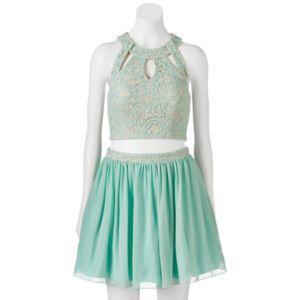 Juniors' Speechless Sequin Prom Crop Top & Skirt Set