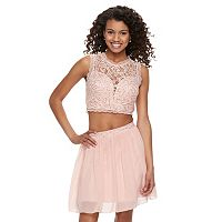Juniors' Speechless Lace Sequin Top & Skirt Set