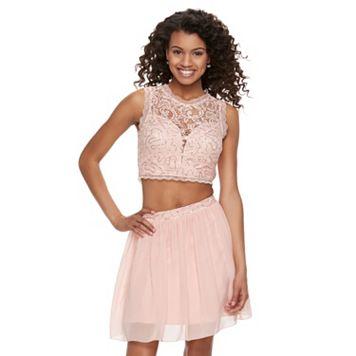 Juniors' Speechless Lace Sequin Top & Skirt Set