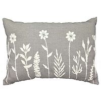 Floral Embroidered Oblong Throw Pillow