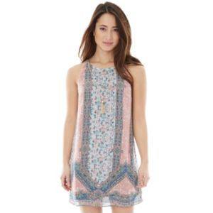 Juniors' IZ Byer California Print Necklace Shift Dress