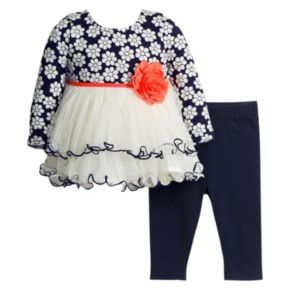 Baby Girl Youngland Tiered Floral Top & Leggings Set