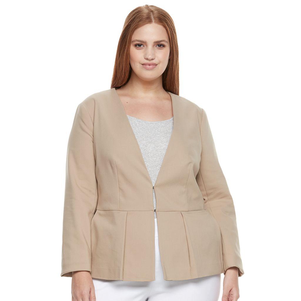 Plus Size Apt. 9® Torie Collarless Peplum Jacket