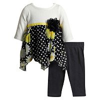 Baby Girl Youngland Knit & Chiffon Dress & Leggings Set