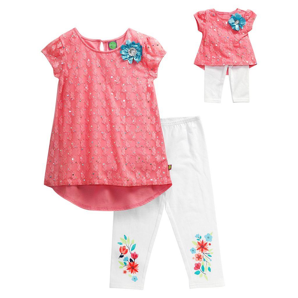 Girls 4-14 Dollie & Me Lace Overlay Mini Dress & Floral Graphic Capri Leggings Set