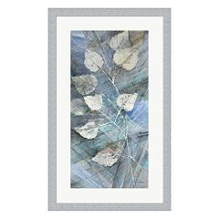 Metaverse Art Silver Leaves I Framed Wall Art