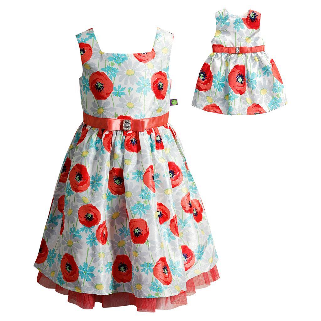 Girls 4-14 Dollie & Me Peony Dress Set