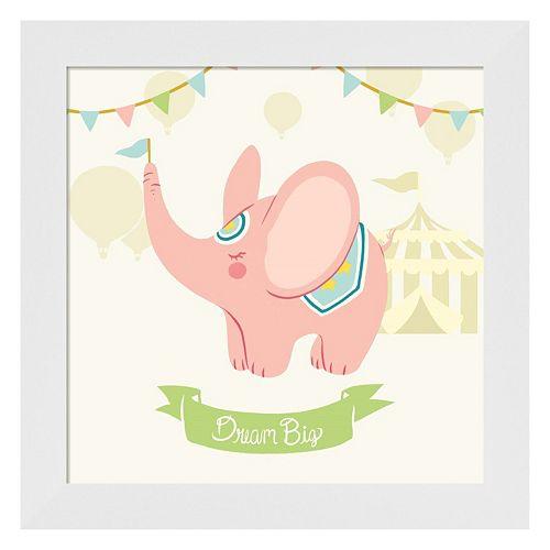 Metaverse Art Little Circus Elephant Pastel Framed Wall Art