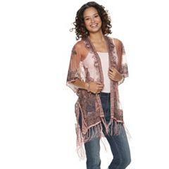 14acc719722e Women s Lace Kimono · Mudd® Burnout Paisley Fringed Kimono