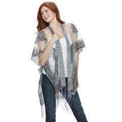 Mudd® Burnout Paisley Fringed Kimono