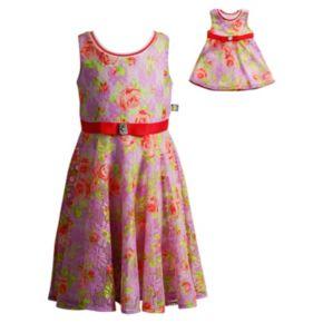 Girls 4-14 Dollie & Me Floral Overlay Dress Set