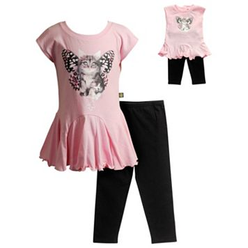 Girls 4-14 Dollie & Me Photoreal Butterfly Cat Drop-Waist Mini Dress & Capri Leggings Set