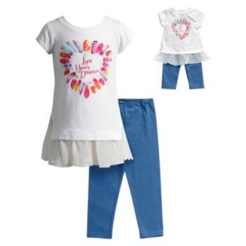 "Girls 4-14 Dollie & Me ""Live Your Dream"" Glitter Graphic Chiffon Mini Dress & Capri Leggings Set"
