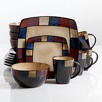 Gibson Elite Soho Lounge 16 pc Mosaic Dinnerware Set
