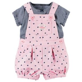 Baby Girl Carter's Striped Tee & Heart Shortalls Set