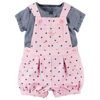 Baby Girl Carter's Striped Tee & Heart Shortalls Set