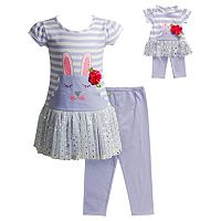 Girls 4-14 Dollie & Me Bunny Drop-Waist Dress & Capri Leggings Set
