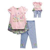 Girls 4-14 Dollie & Me Floral Hi-Low Hem Mini Dress & Capri Leggings Set