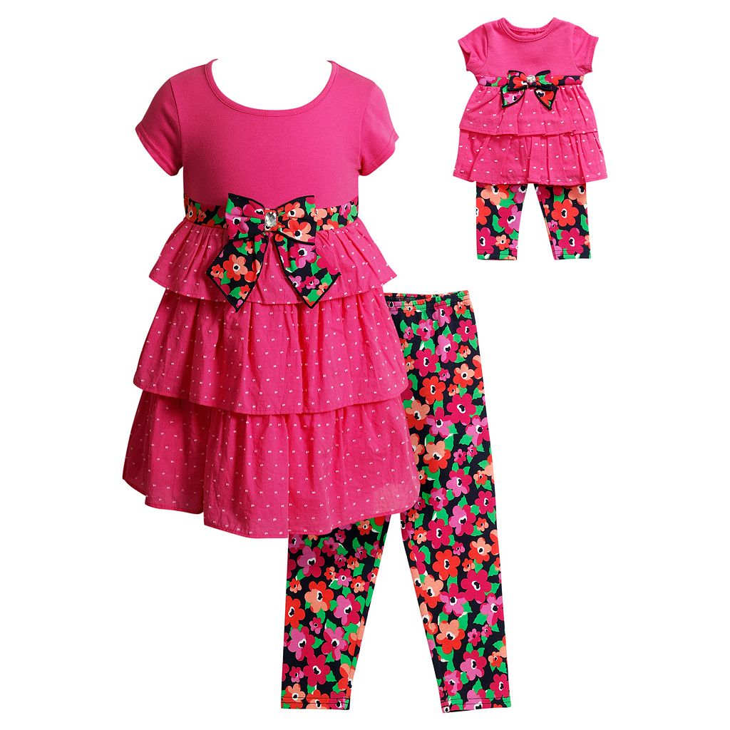 Girls 4-14 Dollie & Me Tiered Polka-Dot Dress & Floral Capri Leggings Set
