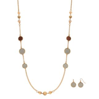 Long Beaded Glittery Disc Necklace & Drop Earring Set