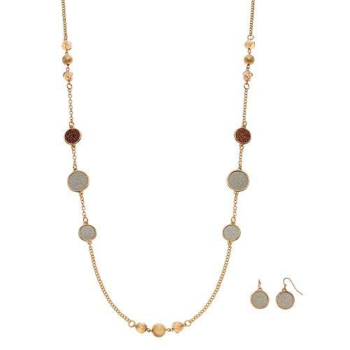 Long Beaded Glittery Disc Necklace & Drop Earring Set
