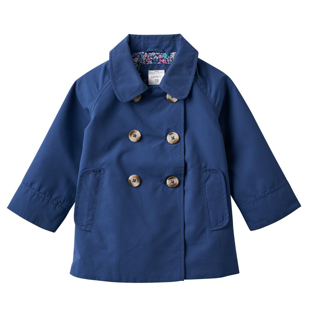 Baby Girl Carter's Solid Lightweight Trench Coat