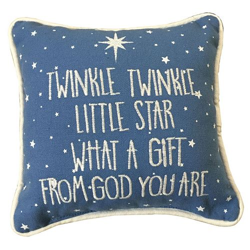 ''Twinkle, Twinkle Little Star'' Embroidered Small Throw Pillow