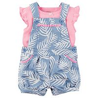 Baby Girl Carter's Flutter Tee & Palm-Leaf Shortalls Set