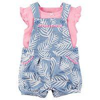 Baby Girl Carter's Flutter Tee & Palm-Leaf Shortalls Set
