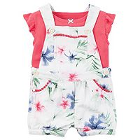 Baby Girl Carter's Flutter Tee & Floral Shortalls Set