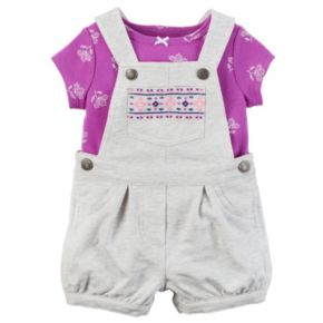 Baby Girl Carter's Flower Tee & Embroidered French Terry Shortalls Set