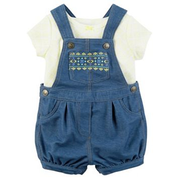 Baby Girl Carter's Floral Tee & Graphic Denim-Like Shortalls Set