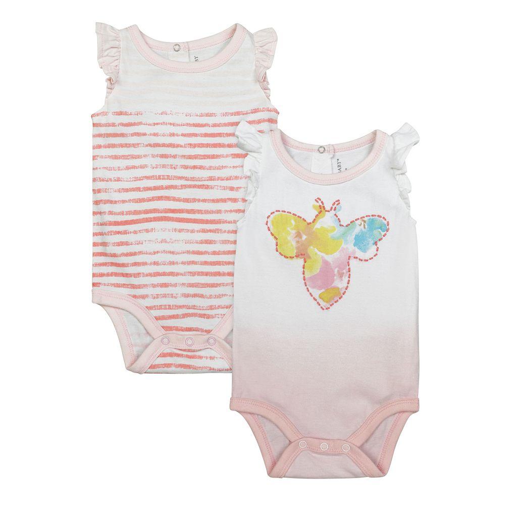 Baby Girl Burt's Bees Baby 2-pk. Organic Flutter Sleeve Bodysuits