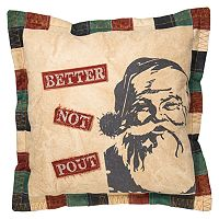 ''Better Not Pout'' Reversible Throw Pillow