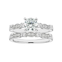 Boston Bay Diamonds 14k White Gold 1 3/8 Carat T.W. IGL Certified Diamond Engagement Ring Set