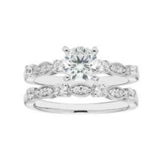 Boston Bay Diamonds 14k White Gold 1 3/8 Carat T.W. IGL Certified Diamond Engagement Ring Set