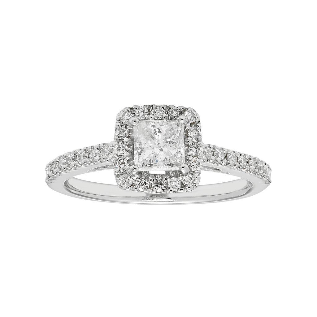Boston Bay Diamonds 14k White Gold 3/4 Carat T.W. IGL Certified Diamond Square Halo Engagement Ring