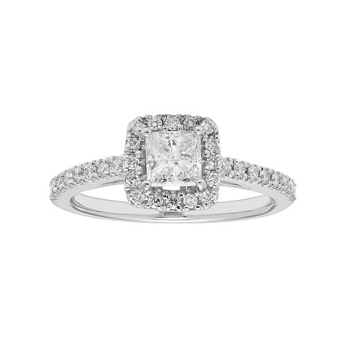 Boston Bay Diamonds 14k White Gold 3/4 Carat T.W. IGL Certified Diamond Square Halo Engagement Ring