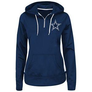 Plus Size Majestic Dallas Cowboys Quarter-Zip Pullover Hoodie