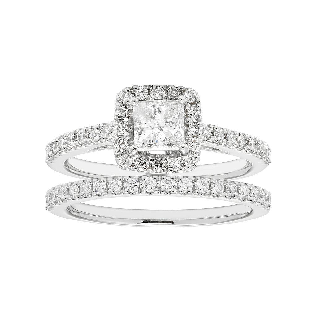 Boston Bay Diamonds 14k White Gold 1 Carat T.W. IGL Certified Diamond Square Halo Engagement Ring Set
