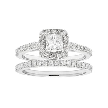 Boston Bay Diamonds 14k White Gold 1 Carat T.W. IGL Certified Diamond Square Halo Engagement Ring Set