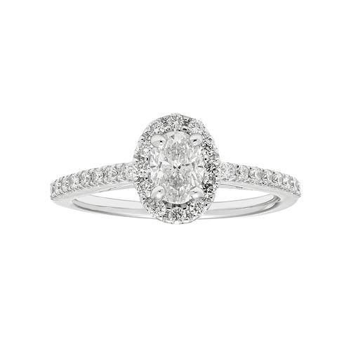 Boston Bay Diamonds 14k White Gold 3/4 Carat T.W. IGL Certified Diamond Oval Halo Engagement Ring